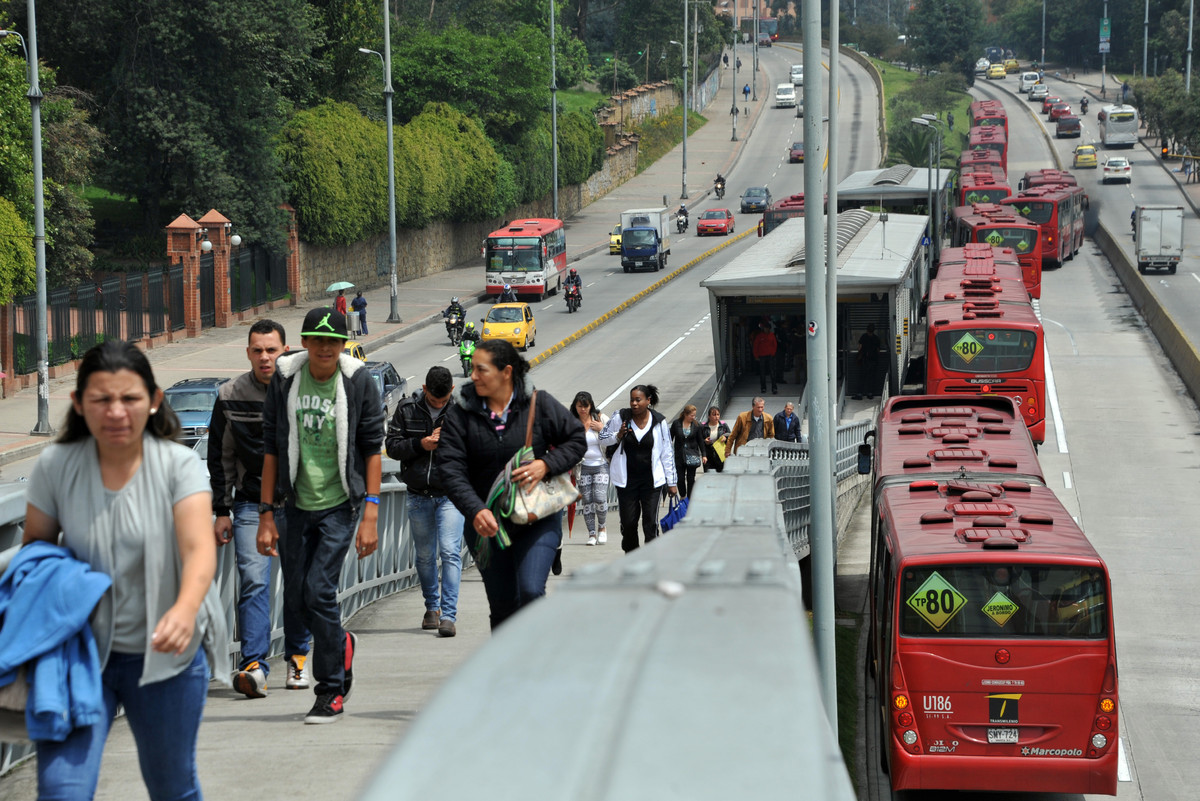 Public buses at a central station in Bogota, Colombia, on March 4, 2014.
