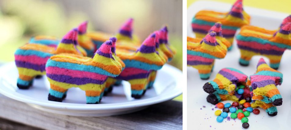 "These brilliant and colorful ""Pinata Cookies"" have a surprise stash of mini-M&M's inside (or whatever you choose to fill them"