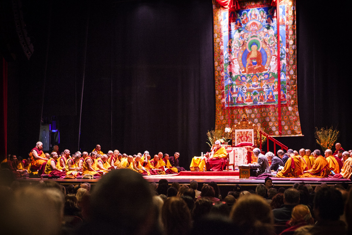 The Dalai Lama delivers a teaching at New York's Beacon Theater on Nov. 3, 2014.