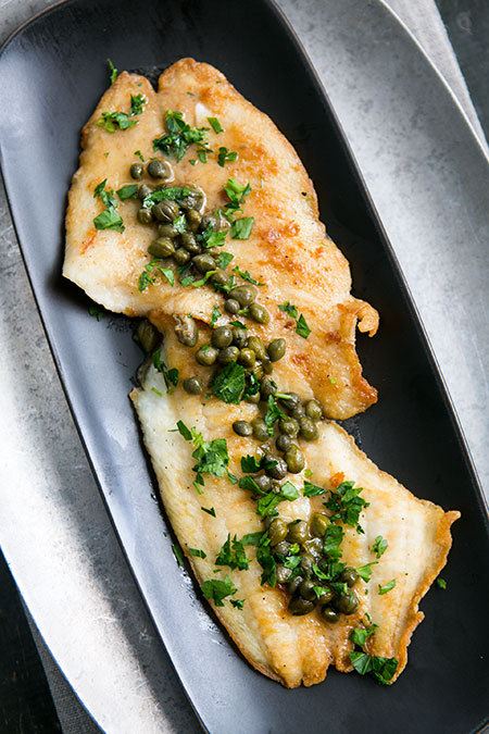 """<strong>Get the <a href=""""http://www.simplyrecipes.com/recipes/sole_piccata/"""" target=""""_blank"""">Sole Picatta recipe</a> from Sim"""