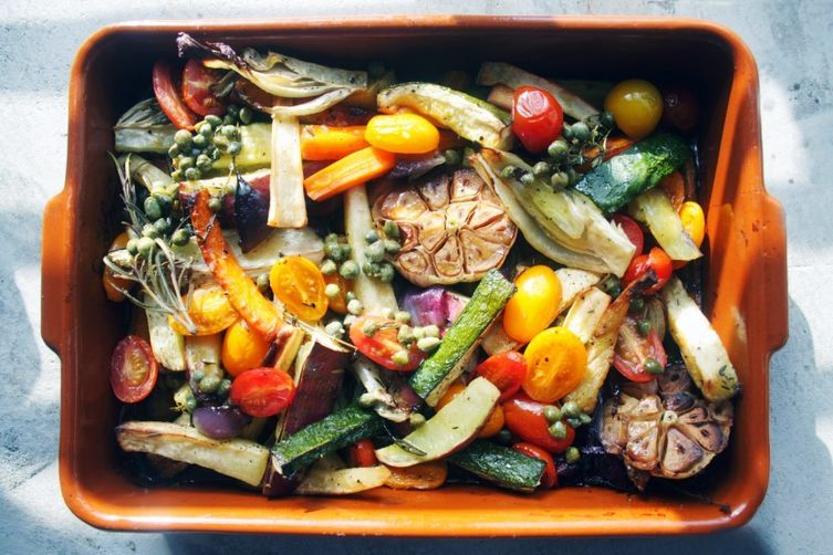 """<strong>Get the <a href=""""http://food52.com/recipes/24749-roasted-vegetables-with-caper-vinaigrette-it-won-t-get-any-better"""" t"""