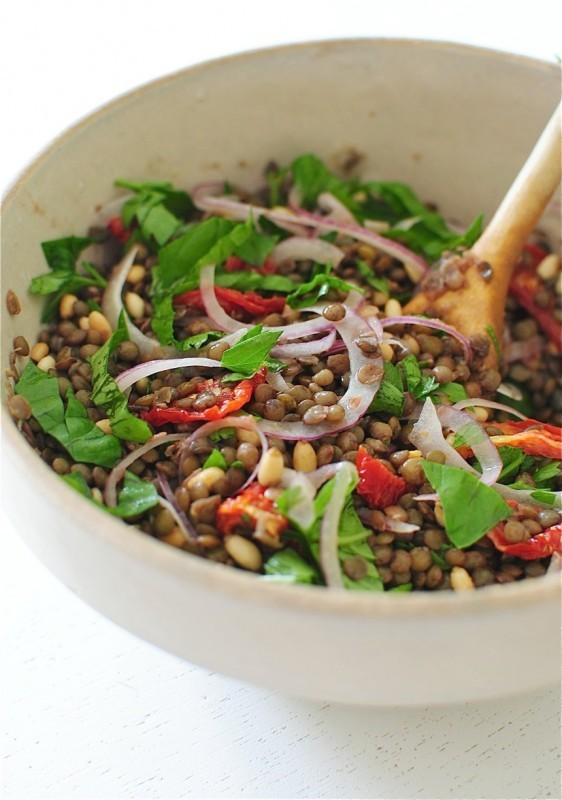 """<strong>Get the <a href=""""http://bevcooks.com/2014/07/mediterranean-lentil-salad/"""" target=""""_blank"""">Mediterranean Lentil Salad"""