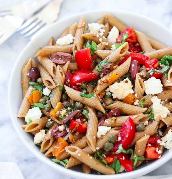 "<strong>Get the <a href=""http://www.foodiecrush.com/2013/07/greek-pasta-salad/"" target=""_blank"">Greek Pasta Salad recipe</a>"