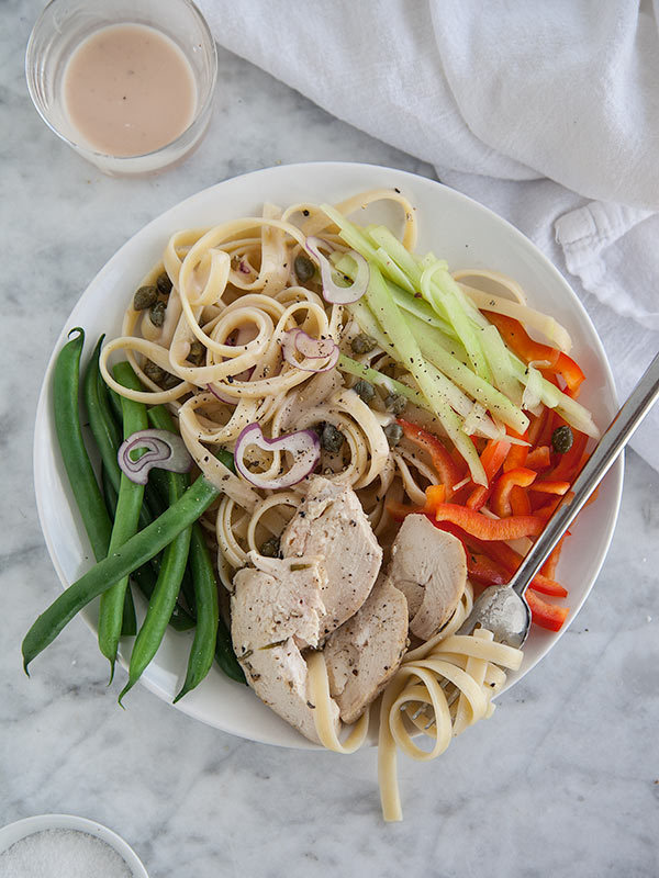 """<strong>Get the <a href=""""http://www.foodiecrush.com/2013/01/chicken-nicoise-pasta-salad/"""" target=""""_blank"""">Chicken Nicoise Pas"""