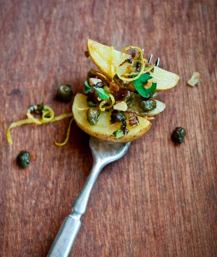 """<strong>Get the <a href=""""http://cafejohnsonia.com/2013/10/roasted-potatoes-with-lemon-and-capers.html"""" target=""""_blank"""">Roaste"""