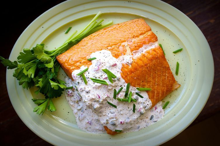 """<strong>Get the <a href=""""http://food52.com/recipes/25405-smoked-salmon-with-horseradish-caper-sauce"""" target=""""_blank"""">Smoked S"""