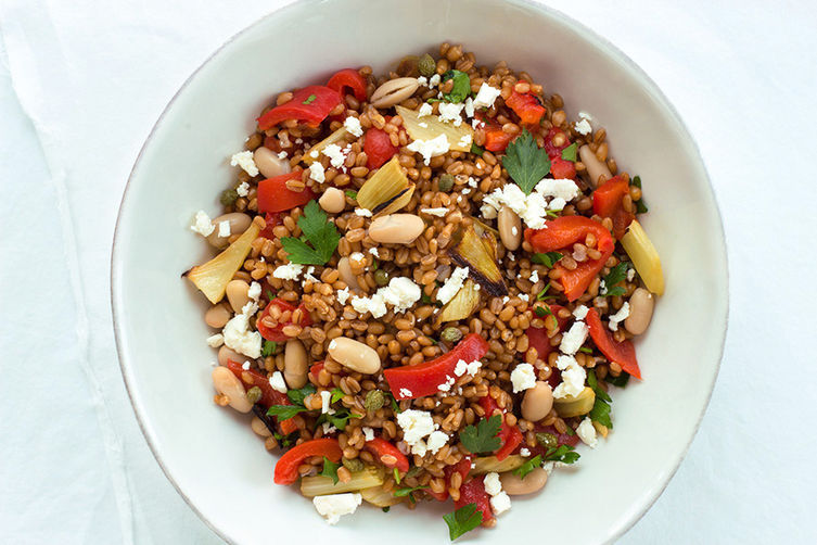 """<strong>Get the <a href=""""http://food52.com/recipes/20947-wheat-berry-salad-with-roasted-fennel-and-bell-pepper"""" target=""""_blan"""