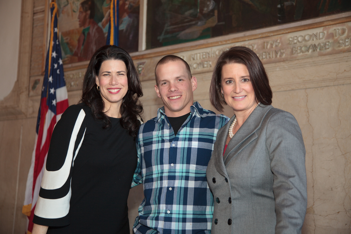 From left: Actress and activist Melissa Fitzgerald, veteran Chuck Sluzenski, and District Attorney of Montgomery County, Pa.