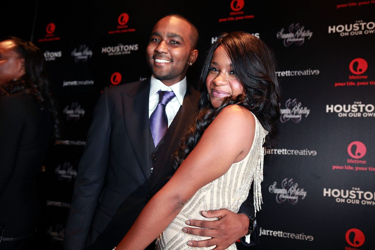 "Nick Gordon and Bobbi Kristina Brown attend the premiere party for ""The Houstons On Our Own"" at the Tribeca Grand hotel on Oc"