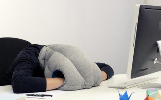 "Wear the <a href=""http://www.ostrichpillow.com/"" target=""_blank"">Ostrich Pillow</a> -- made with flexible fabric and stuffed"