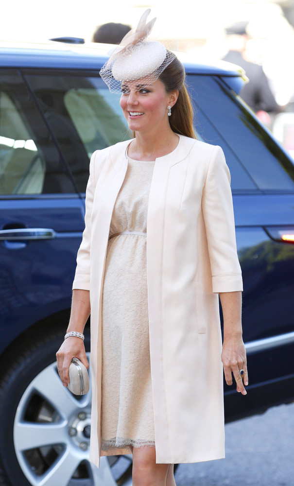 Quite conservative with her dress and skirt hemlines, you'll never see Kate wearing a mini skirt, especially while pregnant.