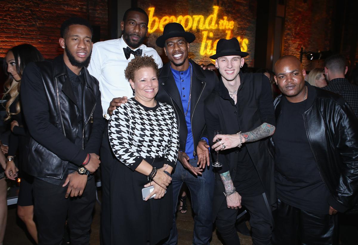 NEW YORK, NY - NOVEMBER 13:  Slim Gudz, Debra Lee, NBA players Amar'e Stoudemire and Iman Shumpert, Machine Gun Kelly and Har