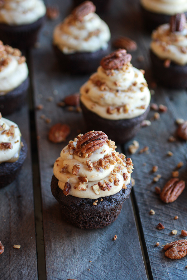 """<strong>Get the <a href=""""http://www.halfbakedharvest.com/chocolate-bourbon-pecan-pie-cupcakes-butter-pecan-frosting/"""" target="""