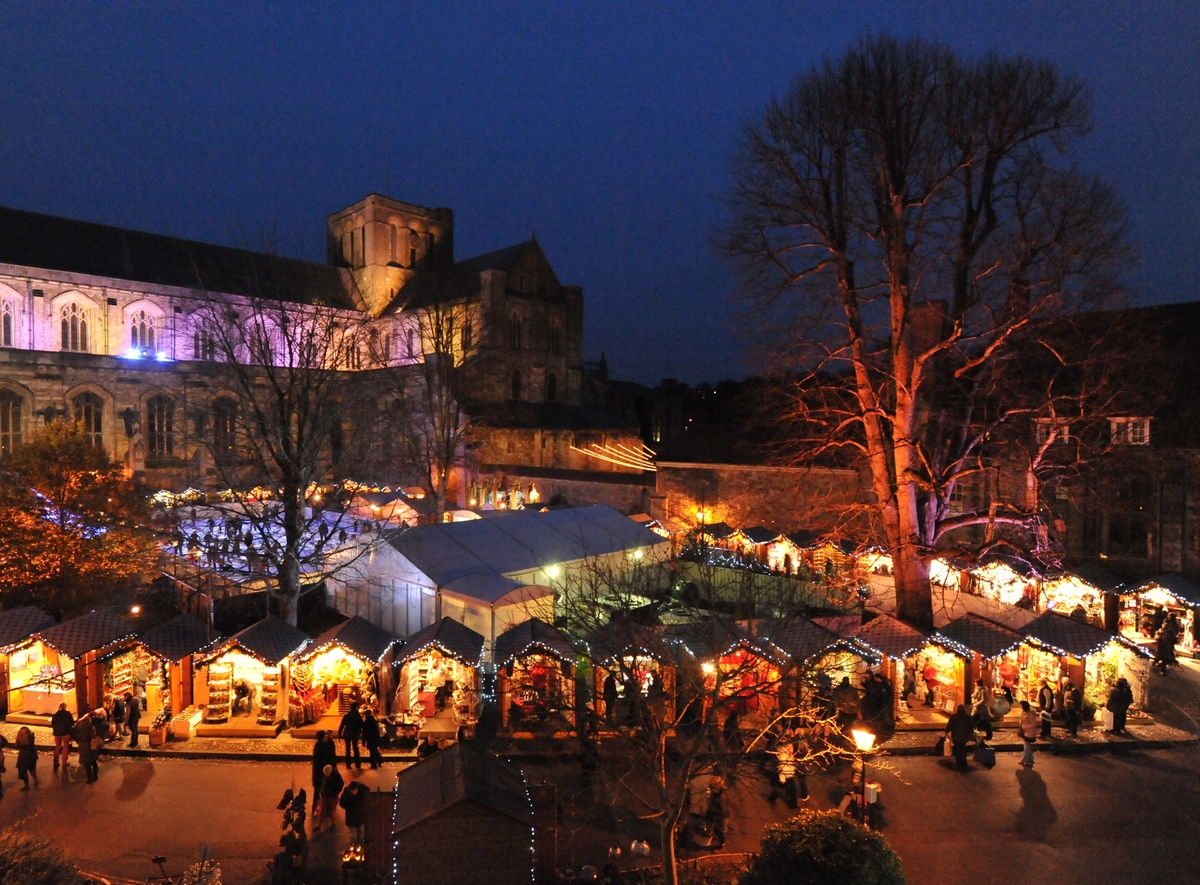 With its open-air ice rink, choir singing and stylish wooden chalets, Winchester's Christmas Market is a popular destination
