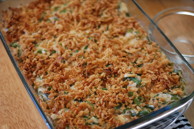 If green bean casserole were made with fresh green beans and a homemade cream sauce -- keep the Funions -- this dish might be