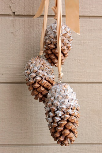While this project specifically uses pine cones, you can use this easy trick to dust 'snow' over any item you want.  <a href=