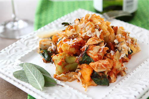"""<strong>Get the <a href=""""http://www.cookincanuck.com/2011/11/baked-tortellini-with-turkey-butternut-squash-chard-recipe/"""" tar"""