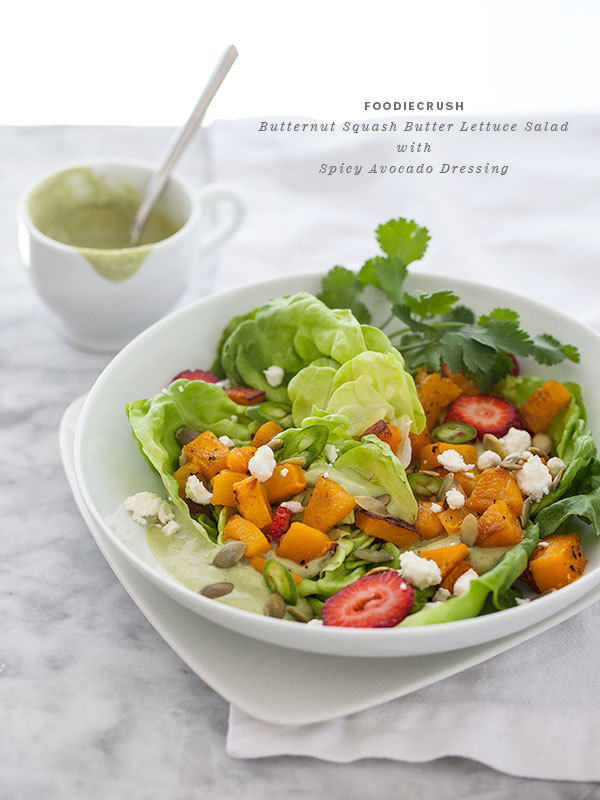"""<strong>Get the <a href=""""http://www.foodiecrush.com/2013/02/butternut-squash-butter-lettuce-salad-with-spicy-avocado-dressing"""