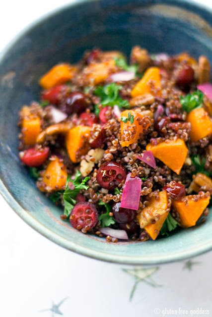 """<strong>Get the <a href=""""http://glutenfreegoddess.blogspot.com/2010/01/red-quinoa-with-butternet-squash.html"""" target=""""_blank"""""""