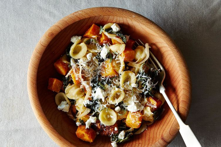"""<strong>Get  the <a href=""""http://food52.com/recipes/7930-orecchiette-with-roasted-butternut-squash-kale-and-caramelized-red-o"""