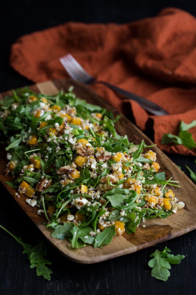 "<strong>Get the <a href=""http://naturallyella.com/2014/10/24/roasted-butternut-squash-quinoa-and-arugula-salad/"" target=""_bla"