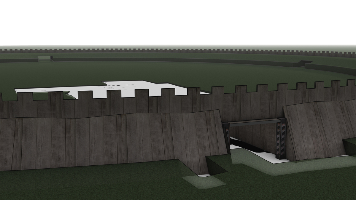 A 3D reconstruction of the north gate.