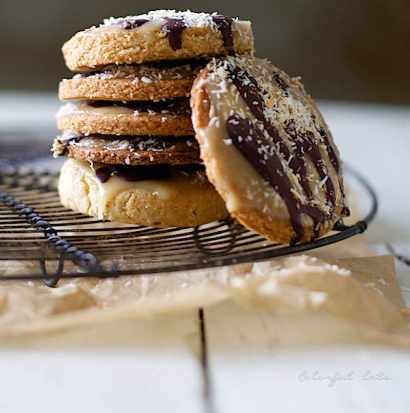 "<strong>Get the <a href=""http://colorfuleatsnutrition.com/recipes/homemade-grain-free-samoas"" target=""_blank"">Homemade Girl S"