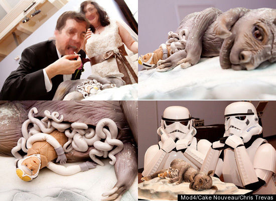 Star Wars artist Chris T. had Cake Nouveau create a dead Tauntaun cake for his wedding, complete with a Luke Skywalker stuffe