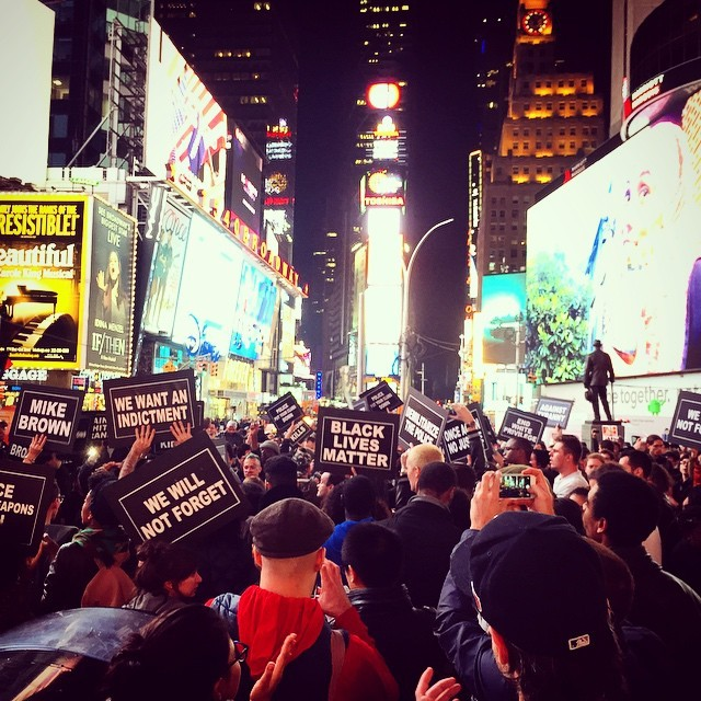 In this photo from Instagram user bibbiesss, people protest in New York City on Mon. Nov, 24, 2014.