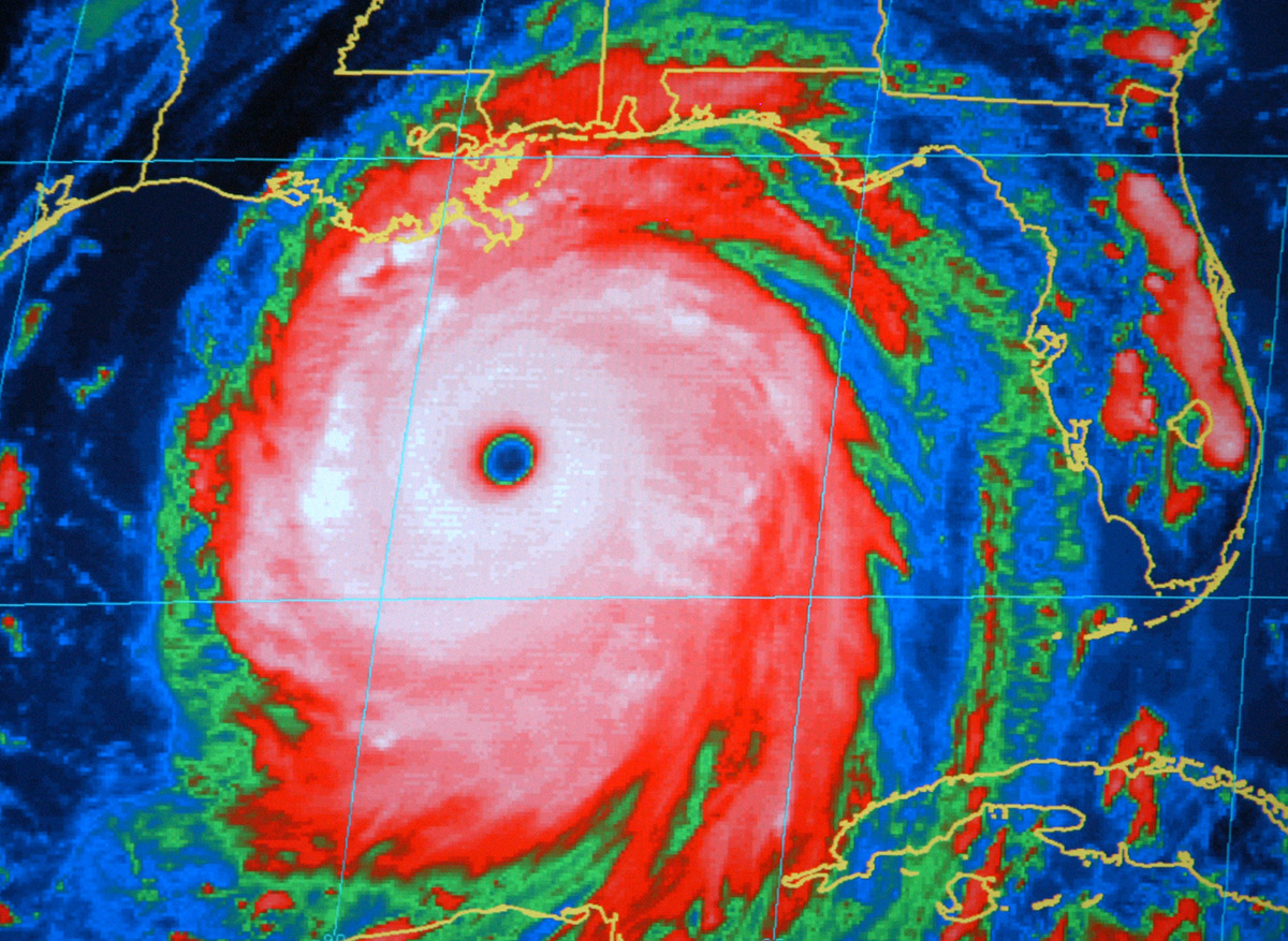 8 Years On: This Aug. 28, 2005 file photo shows a National Oceanic and Atmospheric Administration infrared satellite image of