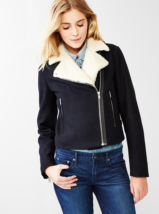 "<a href=""http://www.gap.com/browse/product.do?cid=5700&vid=1&pid=140304002"" target=""_blank"">Sherpa-Collar Moto Jacket, (sale"
