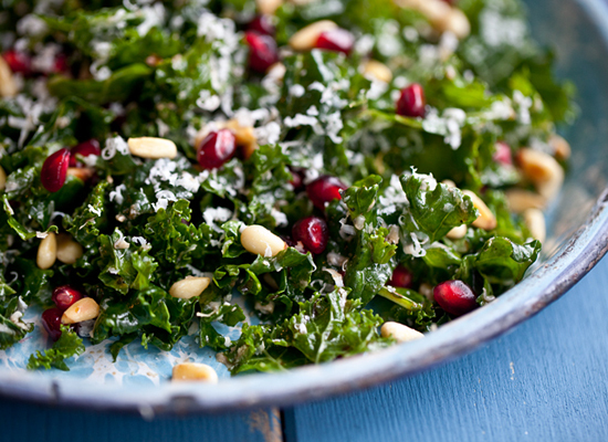 "<strong>Get the <a href=""http://www.runningwithtweezers.com/kale-salad-zinfandel-prunes/"">Raw Kale Salad with Balsamic and Po"