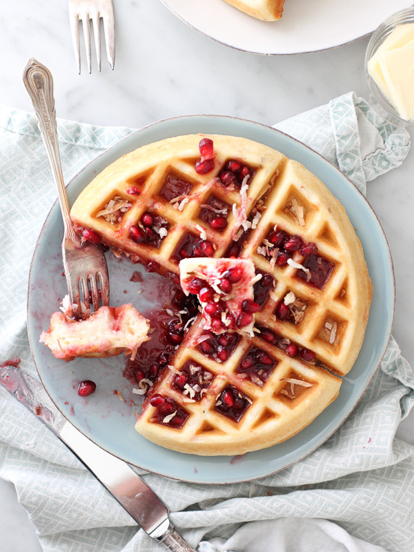 "<strong>Get the <a href=""http://www.foodiecrush.com/2013/12/coconut-waffles/"" target=""_blank"">Coconut Waffles with Pomegranat"