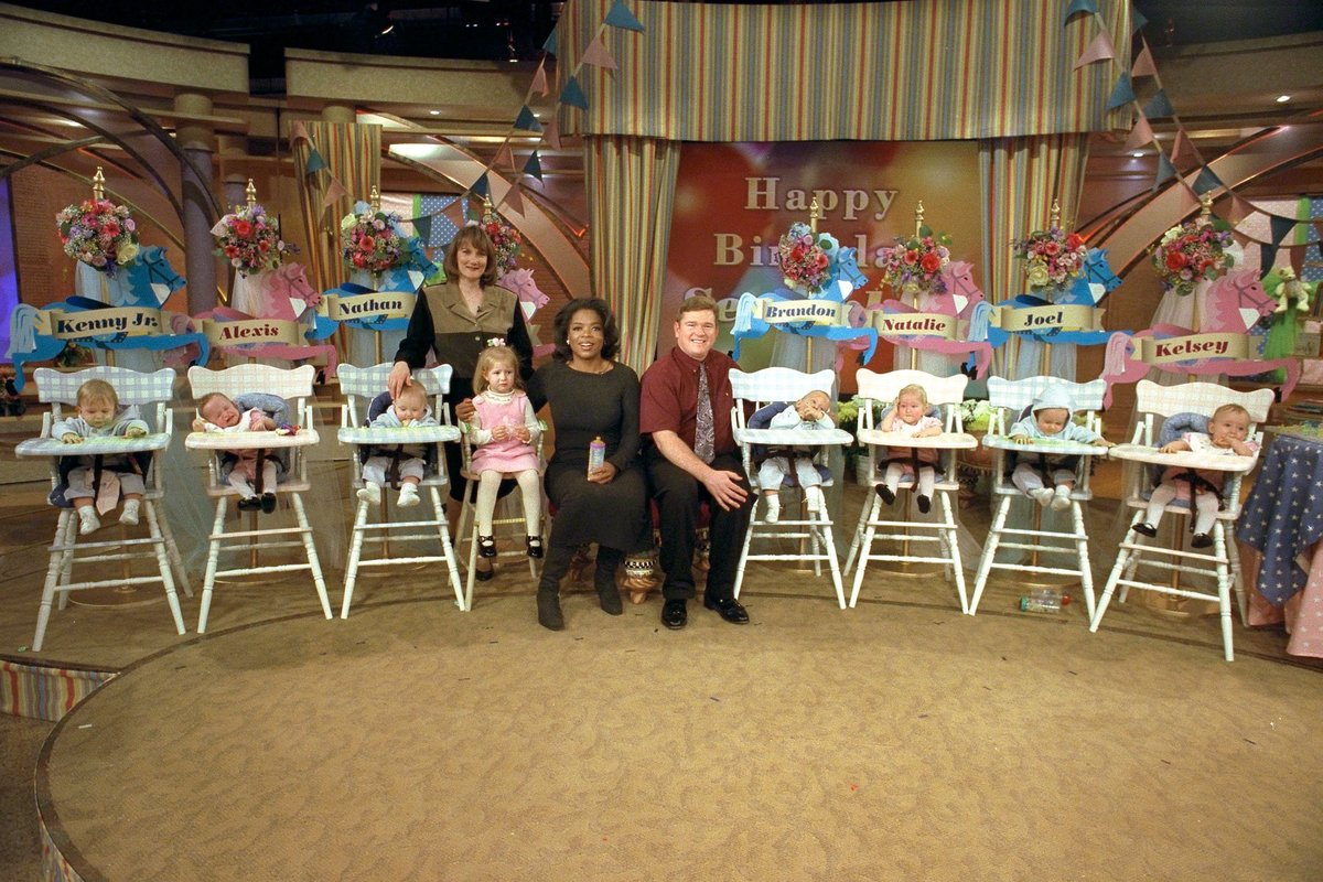 """The McCaughey septuplets on """"The Oprah Winfrey Show"""" in 1998"""