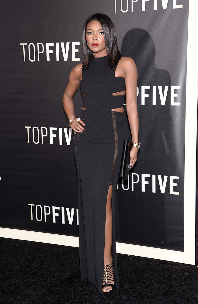 "Actress Gabrielle Union attends the premiere of ""Top Five"" at the Ziegfeld Theatre on Wednesday, Dec. 3, 2014, in New York. ("