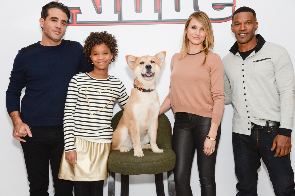 "The cast of ""Annie"" poses, from left, Bobby Cannavale, Quvenzhané Wallis, Marty the dog, Cameron Diaz and Jamie Foxx during"