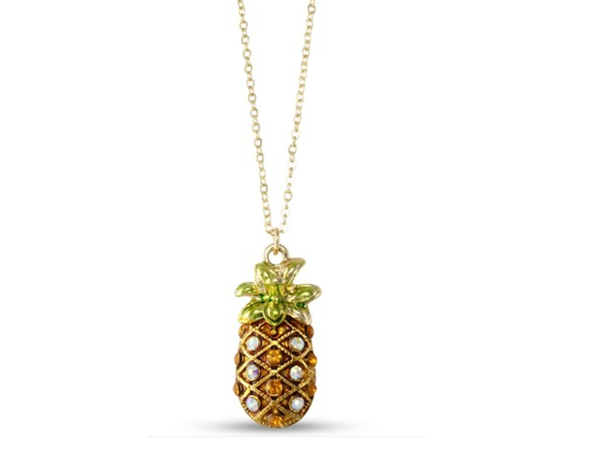 """<a href=""""http://www.heirloomfinds.com/gold-tone-pave-aurora-borealis-crystal-enamel-pineapple-pendant-necklace/?gclid=CMn3-ND"""