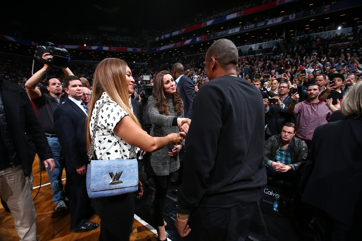 NEW YORK - DECEMBER 8: Singer Beyonce and Husband Jay-Z greets The Duchess of Cambridge in the game of the Cleveland Cavalier