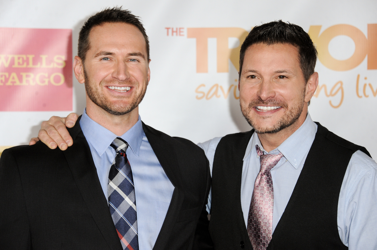 Ty Herndon, Right, and Matt Collum arrive at TrevorLIVE Los Angeles on Sunday, Dec. 07, 2014, in Los Angeles. (Photo by Richa