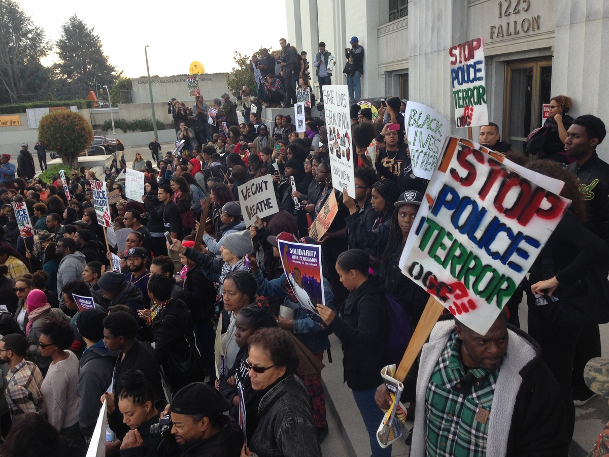 Protesters gathering on Alameda county courthouse steps in Oakland, CA. on Dec. 13, 2014.