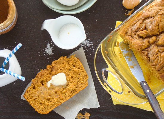 """<strong>Get the <a href=""""http://www.budgetgourmetmom.com/pumpkin-biscoff-bread/"""">Pumpkin Biscoff Bread recipe</a> from Budget"""