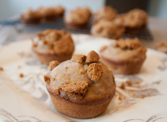 """<strong>Get the <a href=""""http://www.carlasconfections.com/2012/08/biscoff-banana-muffins.html"""">Biscoff Banana Muffins recipe<"""