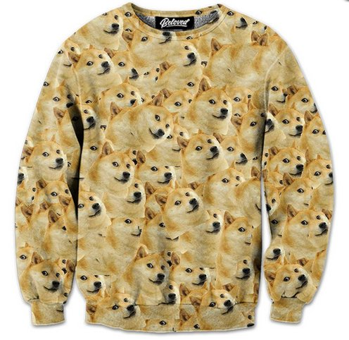 "Such warm. Much fun.   $59 via <a href=""http://www.belovedshirts.com/collections/new-designs/products/doge-sweatshirt"" target"