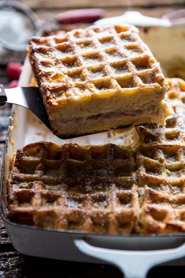 """<strong>Get the <a href=""""http://www.halfbakedharvest.com/monte-cristo-waffle-strata/"""" target=""""_blank"""">Monte Cristo Strata Waf"""