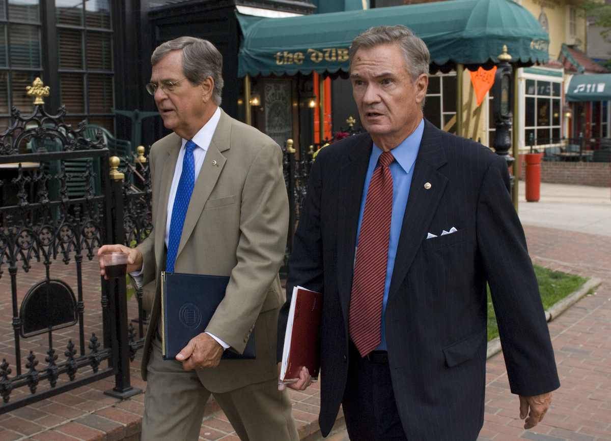 Former Sens. Trent Lott (R-Miss.), left, and John Breaux (D-La.) started the lobbying group Breaux Lott Leadership Group in 2