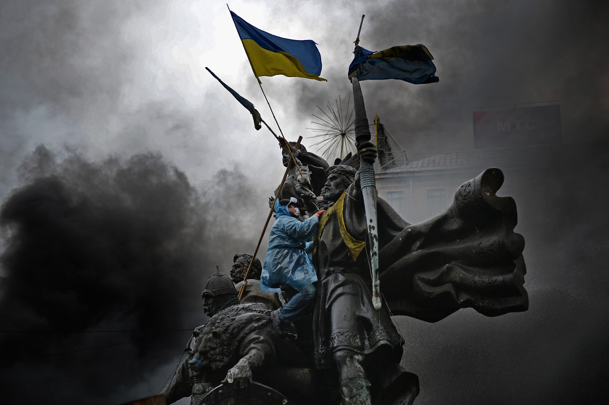 """Massive protests that started in the Ukrainian capital of Kiev at the end of 2013 <a href=""""http://www.bbc.co.uk/news/world-eu"""