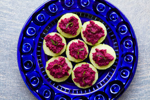 """<strong>Get the <a href=""""http://www.simplyrecipes.com/recipes/beet_hummus/"""">Beet Hummus recipe</a> from Simply Recipes</stron"""