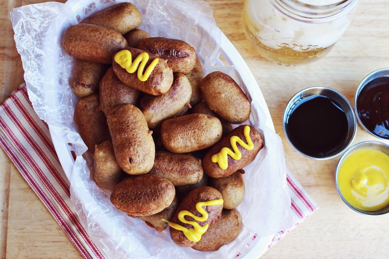 """<strong>Get the <a href=""""http://www.abeautifulmess.com/2012/10/homemade-mini-corn-dogs.html"""" target=""""_blank"""">Homemade Mini Co"""