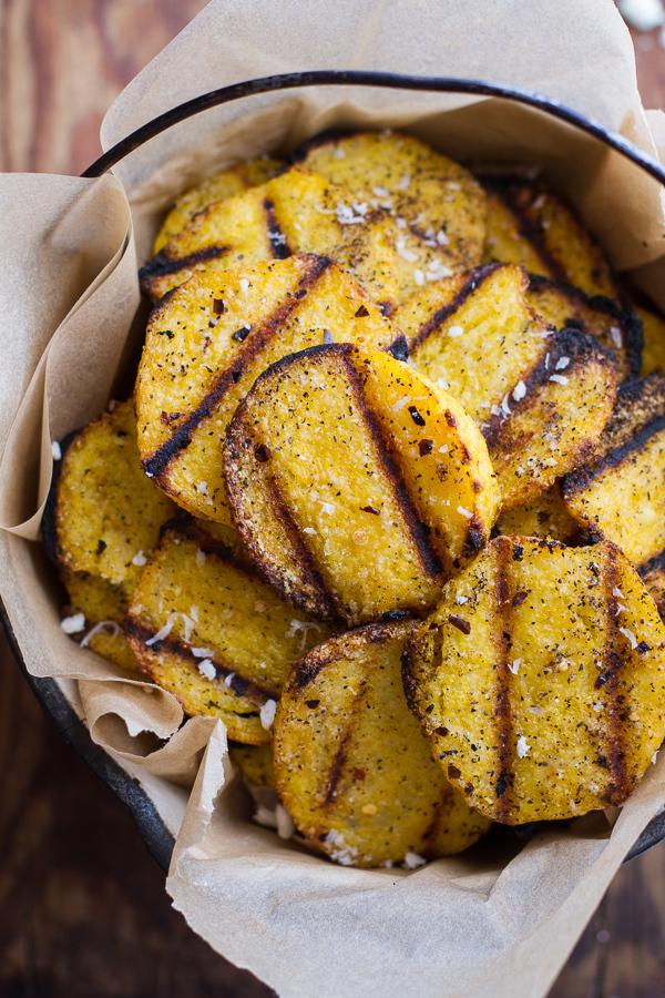 "<strong>Get the <a href=""http://www.halfbakedharvest.com/easy-grilled-parmesan-polenta-chips/"" target=""_blank"">Easy Grilled P"