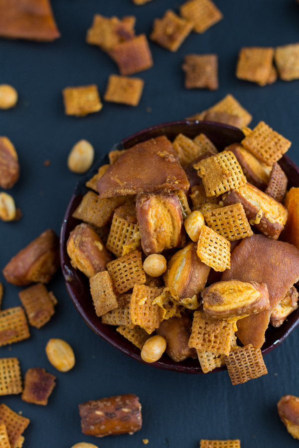 """<strong>Get the <a href=""""http://www.halfbakedharvest.com/buffalo-cheddar-chex-mix/"""" target=""""_blank"""">Buffalo Cheddar Chex Mix"""